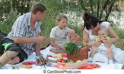 Family summer camping vacation