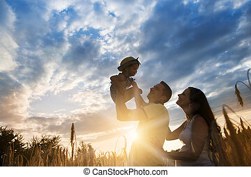 Family summer spending time together in nature