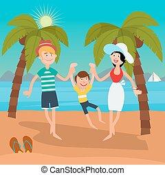 Family Summer Vacation. Happy Family on the Sea. Vector illustration