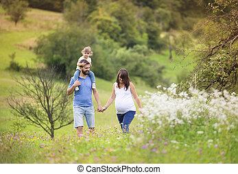 Family summer walk - Happy pregnant family having fun in ...