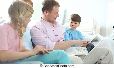 Family surfing internet