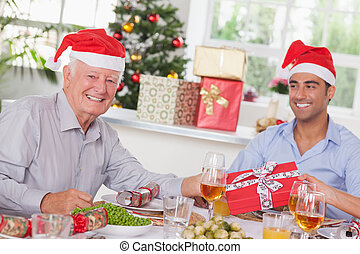 Family swapping christmas presents