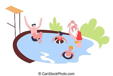 Family swimming pool outdoor activity leisure pastime