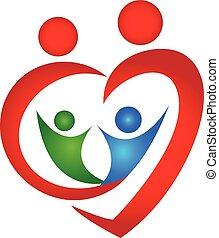 Family symbol heart shape logo design template