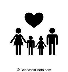 Family symbol with heart. Husband and wife are kept children's h