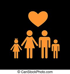 Family symbol with heart. Husband and wife are kept children's hands. Love. Orange icon on black background. Old phosphor monitor. CRT.