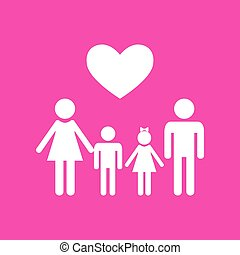 Family symbol with heart. Husband and wife are kept children's hands. White icon at magenta background.