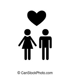 Family symbol with heart. Husband and wife are kept each other`s