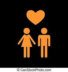 Family symbol with heart. Husband and wife are kept each other`s hands. Love. Orange icon on black background. Old phosphor monitor. CRT.