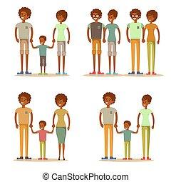 family., syn, ojciec, macierz, szczęśliwy, razem.