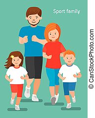 family., szczęśliwy, illustration., płaski, lekkoatletyka