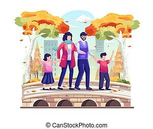Family taking a walk on the park bridge in autumn. vector illustration