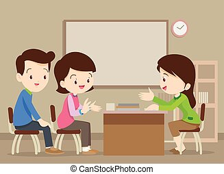 family talking with teacher - Parent meeting with teacher in...