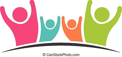 Family Team 4 happy people logo