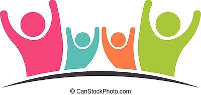 Family Team 4 happy people logo