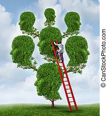 Family therapy and group health care concept with a tree shaped as a group of human heads with a medical doctor psychologist or psychiatrist on a ladder fixing relationship problems.