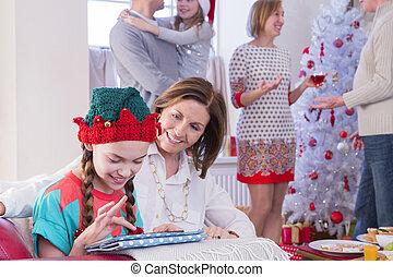 Family Time at Christmas - Three Generation Family at...