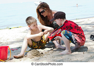 Family time at the beach