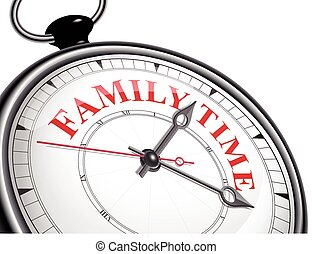 family time concept clock isolated on white background