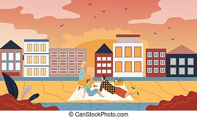 Family Time Concept. People Have A Picnic On The Cityscape Background. Father Mother And Son Have Fun, Communicate, Enjoy Beautiful Cityscape View And Sunset. Cartoon Flat style. Vector illustration