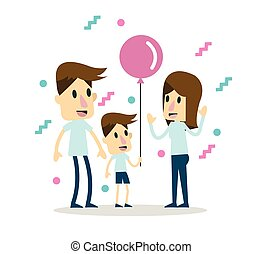 family time. flat character design. vector illustration
