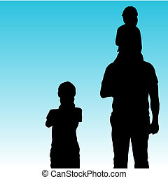 Family Time - An image of father and children having family...