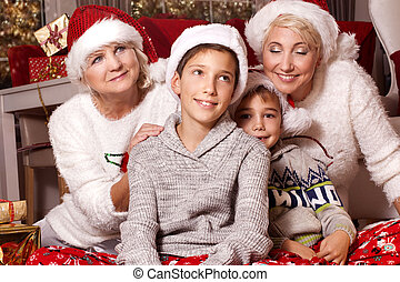 family., time., noël, heureux
