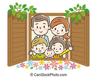 Family to look out from the window