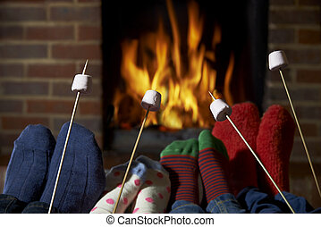 Family Toasting Marshmallows By Open Fire At Home