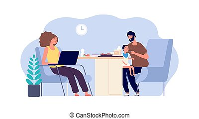 Family together. Mother, father and baby. Dad with little son and working mom. Parenthood vector illustration