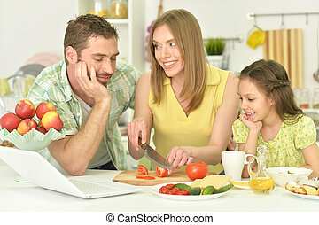 family together on the kitchen