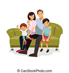 family together on the sofa