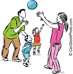 FAMILY TOGETHER PLAYING VECTOR ILLUSTRATION