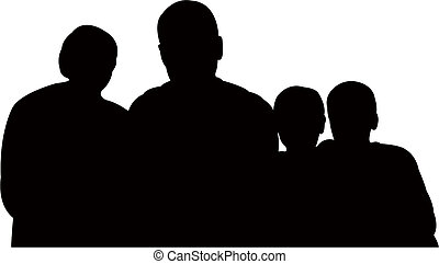 family together, silhouette