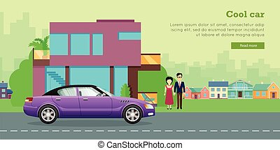 Family Transport Flat Vector Web Banner