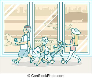 Family travel by plane vector illustration in flat style