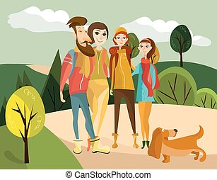 Family travel concept vector illustration