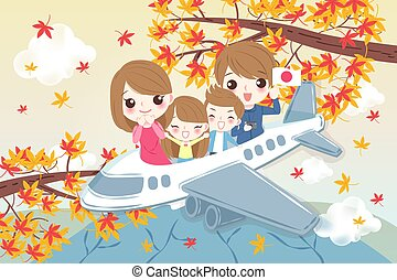 family travel happily in japan