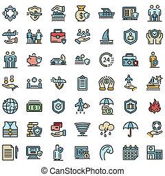 Family travel insurance icons flat