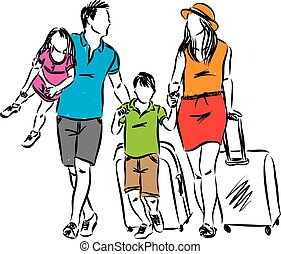 family travel picture vector illustration