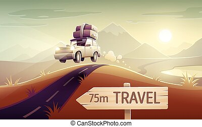 Family travel vacation drive trip by car - Vacation drive...