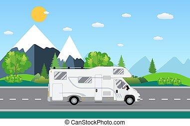 Family traveler truck driving on the road.