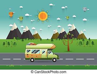 Family traveler truck driving on the road