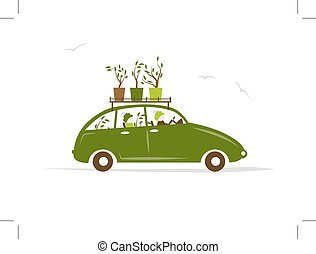 Family traveling by green car with plants on roof