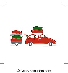 Family traveling by red car with luggage, vector...