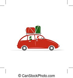 Family traveling by red car with luggage