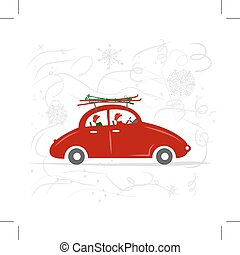 Family traveling by red car with skis
