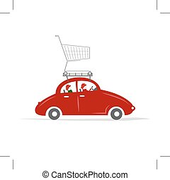 Family traveling by red car with trolley
