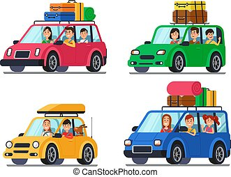 Family traveling cars. Happy people travel in car. Vacation trip with mother and father in minivan cartoon vector illustration