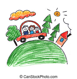 Family traveling in car vector - Kids drawing style picture....